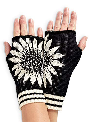 Green 3 Women's Recycled Cotton Coneflower Hand Warmer Fingerless Gloves (Black) Made in USA (One Size) (Hand Women Warmer)