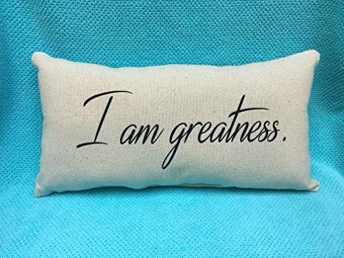 I am Greatness, Canvas Beige Black 16x24 Pillowcase Pillow Cover, Inspiration, Scripture, Christian, Lumbar 16x24 Pillowcase Pillow Cover, Inspiration, Home Decor
