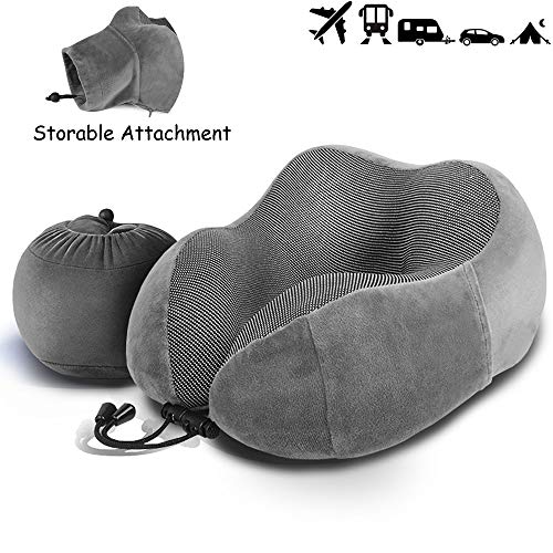 LUXSURE Neck Pillow for Airplane Travel Comfortable Memory Foam Travel Pillow Breathable Head Chin Support Cushion for Airplane/Car/Office/Business (Grey)