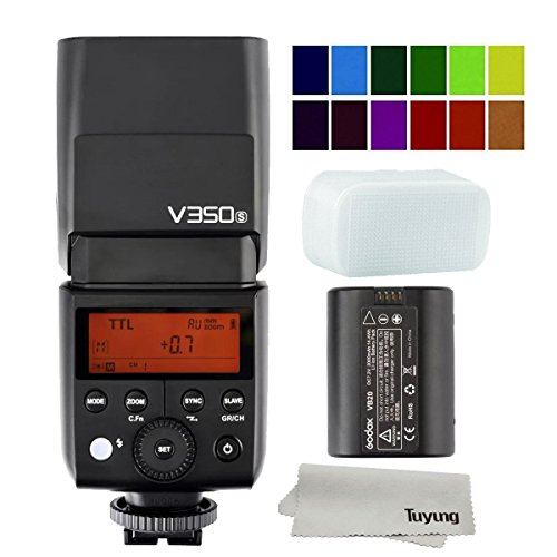 Godox V350S 2.4G Wireless Mini TTL Speedlite Flash for Sony A77, A77 II, A7R, A7R II, A7R III, ILCE-6000L, RX10 MI Shoe Digital Cameras (Li-ion Battery Powered) and TUYUNG cloth
