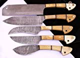 1033BW Custom Made Damascus Steel 5 pcs Professional Kitchen Chef Knife Set with 5 Pocket Case Chef Knife Roll Bag by GladiatorsGuild (Bone White)