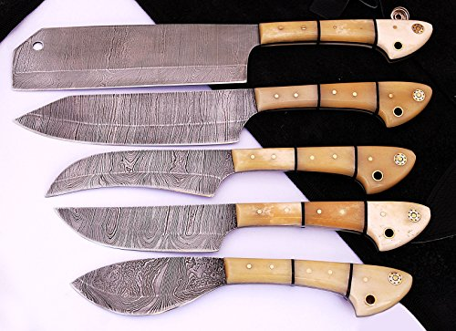 1033BW Custom Made Damascus Steel 5 pcs Professional Kitchen Chef Knife Set with 5 Pocket Case Chef Knife Roll Bag by GladiatorsGuild (Bone White) by GladiatorsGuild