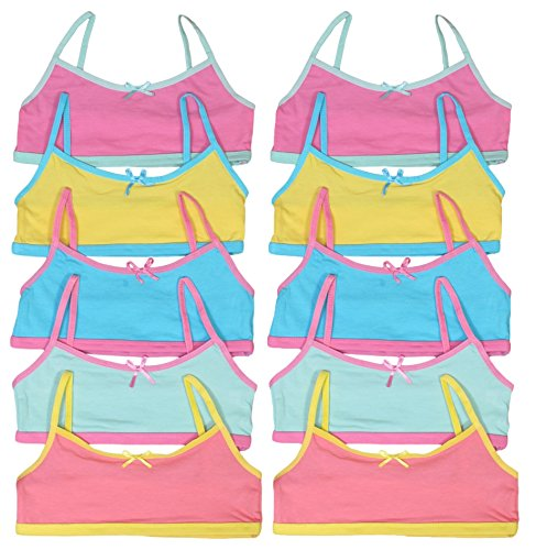 Price comparison product image 'Sweet & Sassy Girls\' 10 Pack Cotton and Spandex Crop Training Bra, Assortment 4'