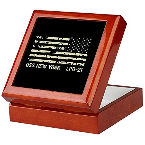 CafePress - USS New York - Keepsake Box, Finished Hardwood Jewelry Box, Velvet Lined Memento (York Cigar Box)