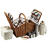 Picnic at Ascot Huntsman English-Style Willow Picnic Basket with Service for 4 and Coffee Set - Santa Cruz