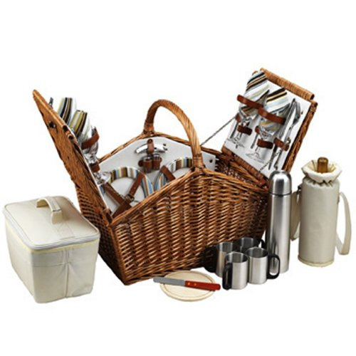 Picnic at Ascot Huntsman English-Style Willow Picnic Basket with Service for 4 and Coffee Set - Santa Cruz ()