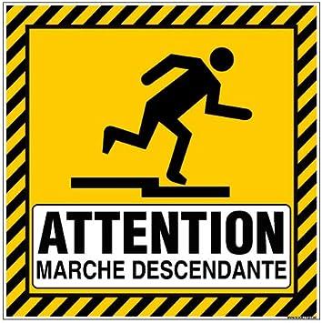 Adh/ésif Attention Marche Descendante Dimensions 125 x 125 mm Protection Anti-UV
