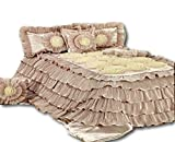 Tache Home Fashion MA1612-K Tache 6 Piece Floral Solid Cinnamon Chai Beige Ruffled