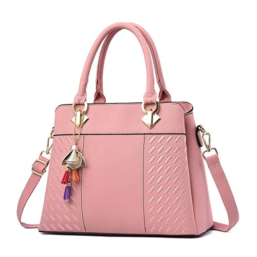 Top Bags Fashion Handle PU Satchel Shoulder Handbags Leather Purses Womens Pink Tote and nPI6Xw1