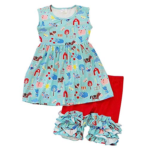 So Sydney Girls Toddler 2-4 Pc Novelty Spring Summer Top Capri Set Accessories (3T (S), Farm Friends Ruffle)