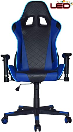 Turismo Racing Ancora Series Blue LED Gaming Chair Big and Tall – Black and Blue – Seat has Dual MEMORYFOAM System for Optimum Comfort in Gaming for Big Guys