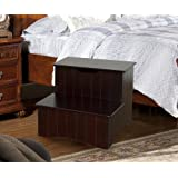 Kings Brand Large Cherry Finish Wood Bedroom Step Stool With Storage