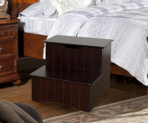 Kings Brand Large Cherry Finish Wood Bedroom Step Stool With Storage - Cherry Wood Finish Bed