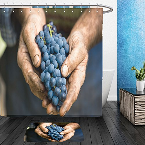 Bunch Of Grapes Costume Ideas (Vanfan Bathroom 2?Suits 1 Shower Curtains & ?1 Floor Mats hand holding fresh bunch of grapes in the vineyard 471735371 From Bath room)