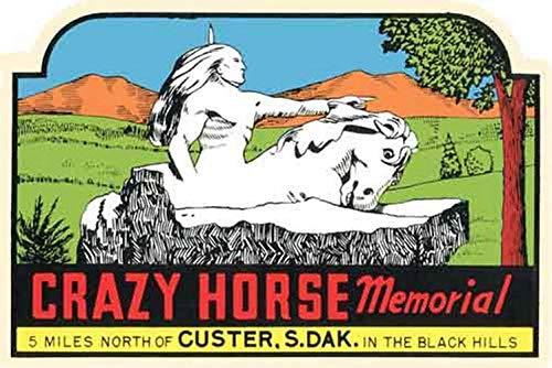 Crazy Horse Memorial Custer South Dakota Vintage Travel Decal Sticker Souvenir Crazy Horse South Dakota