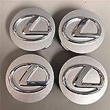 Lexus Wheel Hub Center Cap OEM Silver with Chrome Logo Set of 4