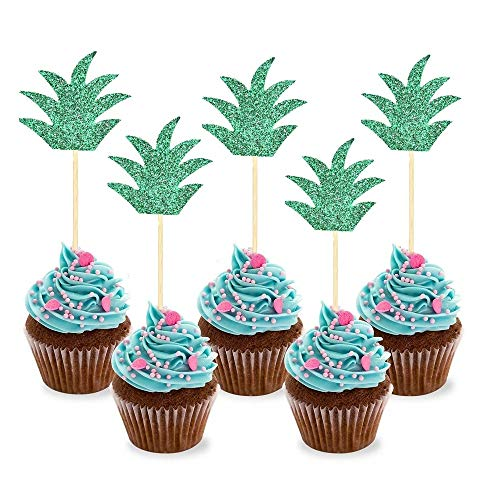 (30 Pcs) Sakolla Glitter Hawaiian Party Pineapple Cupcake Toppers Picks Donut Toppers for Luau Bridal Shower Tropical Summer Party Cake - Wood Picks Cupcake For Toppers