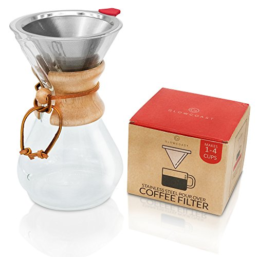 Glowcoast Pour Over Coffee Dripper - Permanent, Reusable Cone Coffee Filter Works With Chemex ...