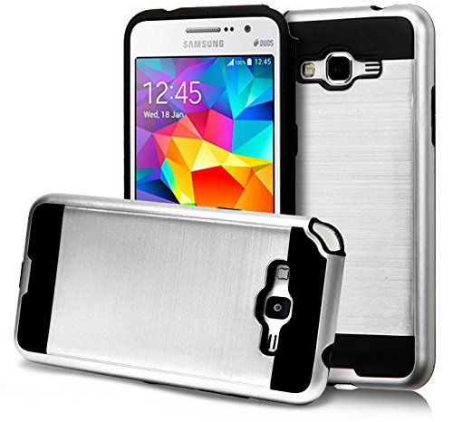 (Core Prime Case, Phonelicious [Slim Fit] [Brushed Metal Texture] [Heavy Duty] Ultimate Drop Protection and Rugged Cover for Samsung Galaxy Core Prime + Clear Screen Protector & Stylus (Silver Chrome))