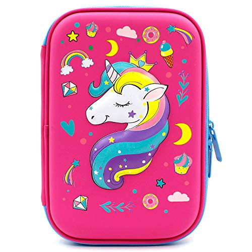 Crown Unicorn Gifts for Girls - Cute Big Size Hardtop Pencil Case with Compartment - Kids School Supply Organizer Stationery Box Zipper Pouch (Hot Pink)