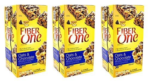 Fiber One Chewy Bars Oats & Chocolate 36- 1.4 Oz Bars (Pack of 3)