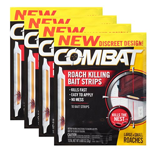 Combat Roach Killing Bait Strips, Large & Small Roaches, 10 Count, (4 Pack)