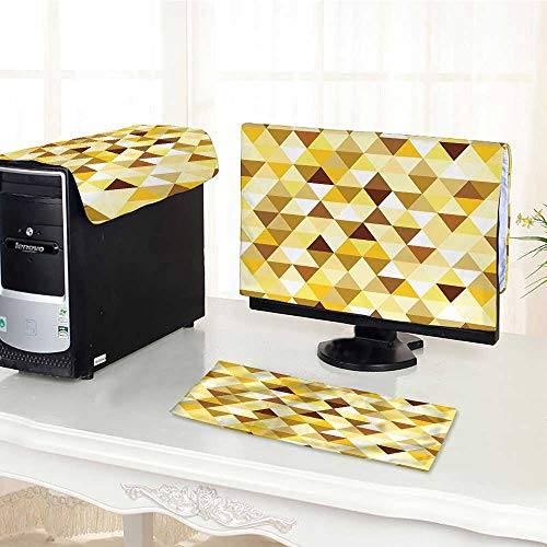 Auraisehome Keyboard dust Cover Computer 3 Pieces Collection Gold Triangle Pattern Happy Brightening Autumn Color Luxury Trendy Ethnic Style Computer dust Cover /19