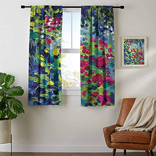 Art, Curtains Valance, Floral Field Vivid Toned Pastel Flourishing Fragrance Botany Summer Petals Picture, Curtains Girls Room, W96 x L72 Inch Multicolor (Floral Valance Fields)