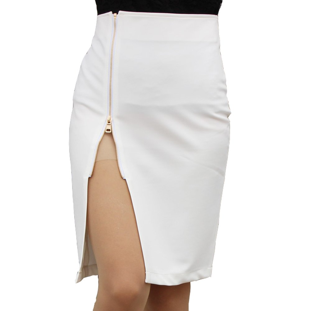 Lydia Fashion Women's OL Style Zip Decoration Black White Pencil Dress Hobble Skirt (XL, White)