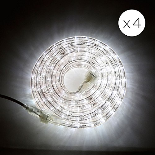 96 Ft. Plugin Rope Lights with Cool White LEDs   Connectable, Waterproof, Dimmable   Indoor & Outdoor Use   For Patios, Fences, Weddings and Christmas Decor by LampLust