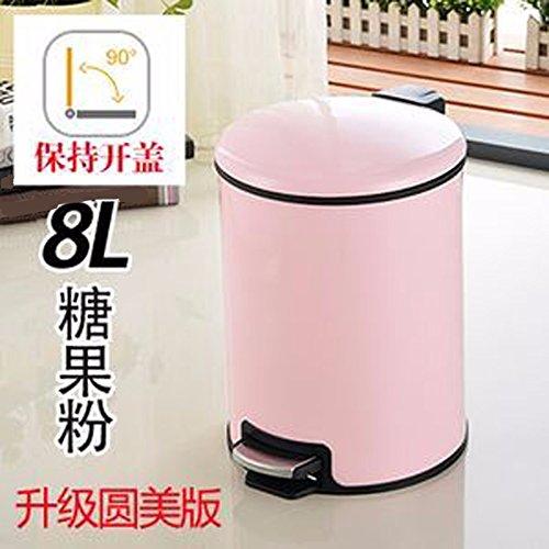 Dustbins Xiuxiutian Stainless steel foot latrines health living room kitchen style 2 bedroom dustbin 8L,