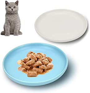 Petdoer Ceramic Shallow Cat Dish, Whisker Fatigue Free Cat Food Bowls, Wide and Small Non Slip Pet Plate for Kitten and Kitty, Short Legged Munchkin Cat