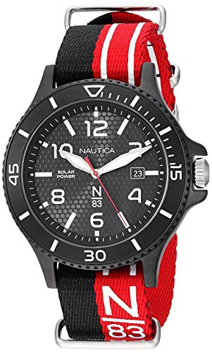Nautica N83 Men's NAPCBS901 Cocoa Beach Solar Black/Red Fabric Slip-Thru Strap Watch ()