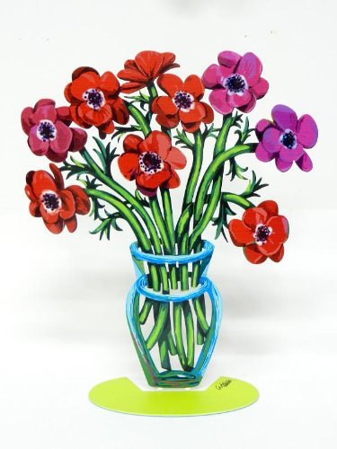 David Gerstein Artist Sculptor Sculpture By David Gerstein Modern Metal ART Sculpture Poppies Flower Vase - small (David Metal Vase)