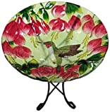 Continental Art Center CAC2609470 Deep Hand Painted Glass Plate, 18 by 3-Inch, Single Hummingbird with Fuchsia Flower