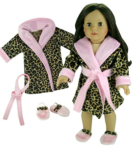 18 Inch Doll Leopard Robe, Belt & Slippers Set Fits 18 Inch American Girl Doll Clothes & More! Doll Slipper Shoes & Soft Animal Print Belted Robe