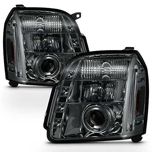 - For GMC Yukon Denali SUV Smoked Smoke Dual Halo LED Projector Headlights Front Lamps Replacement Pair