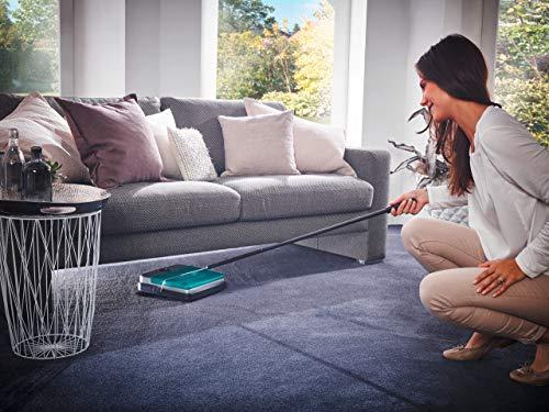 Leifheit Rotaro S turquesa, barredora de alfombras sin alimentación y cable, regulable en altura, limpieza de alfombras con tres cepillos de barrido