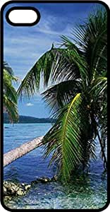 Leaning Palm Ocean Front Black Rubber Case for Apple iPhone 5c