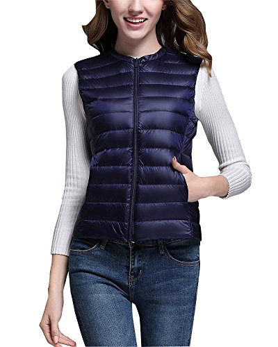 Jacket Ultra Navy Vest Puffer Gilet Down Light ZhuiKun Weight Coat Women's Packable O6qwFIIf