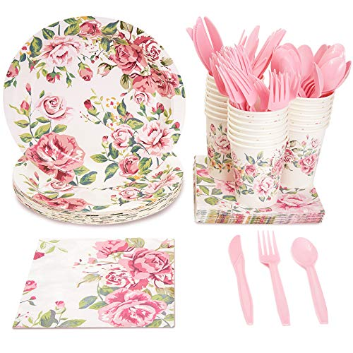 Blue Panda Vintage Floral Party Supplies (Serves 24) Knives, Spoons, Forks, Paper Plates, Napkins, Cups (Antique Roses Plate)