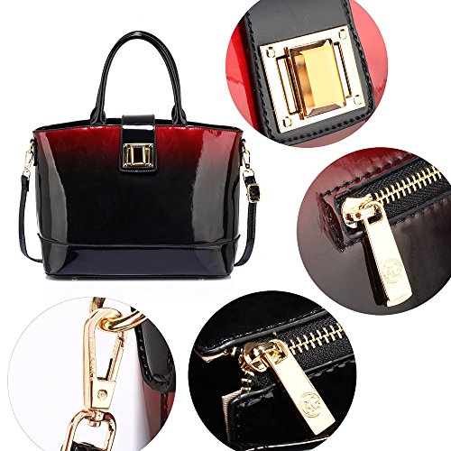 New Fashion Women Maroon Designer 1 Patent Tote Ladies Large Leather Handbag Bag Shoulder Design q8nvBg