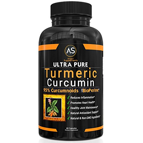 Angry Supplements Ultra Pure Turmeric Curcumin with BioPerine, Black Pepper Extract, 95% Curcuminoids, Best All Natural Powerful Antioxidant, NON GMO, Joint Support, Heart Heath, Pain Relief (1 Pack)