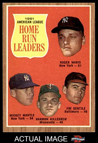 1962 Topps # 53 AL HR Leaders Mickey Mantle / Roger Maris / Harmon Killebrew / Jim Gentile Yankees / Twins / Orioles (Baseball Card) Dean's Cards 6 - EX/MT - Mari Jim