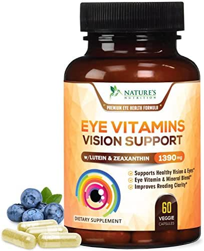 Eye Vitamins with Lutein & Zeaxanthin, Highest Potency Natural Vitamin and Mineral Supplement 1390mg - Made in USA - Best Formula for Vision Support, Dry Eyes & Macular Health - 60 Capsules