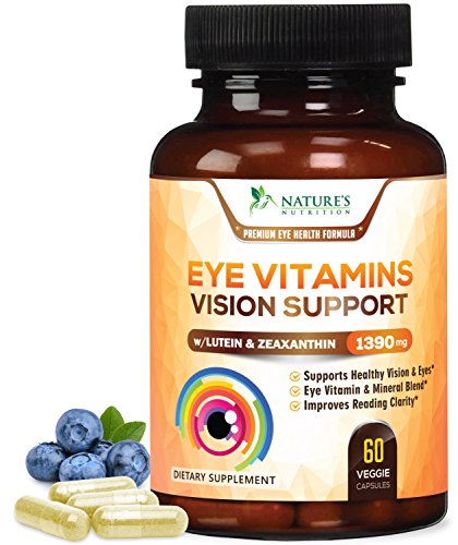 Eye Vitamins with Lutein & Zeaxanthin for Macular Degeneration 1390mg - Made in USA - Vision Support for Dry Eyes & Computer Users, Beta-Carotene & Bilberry, Ocular Mineral Supplement - 60 Capsules