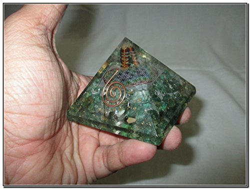 Jet Exquisite A++ Green Mica Flower of Life Chakra Orgone Pyramid Crystal Gemstone