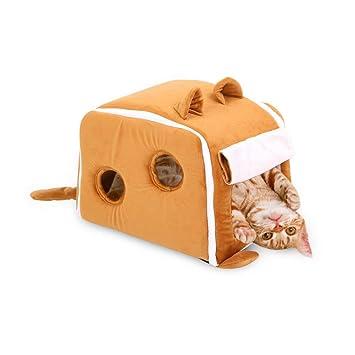 MeiHao Casa Plegable para Gatos, cálida Cubierta Interior Cat Nest Cat Bed House Casa acogedora
