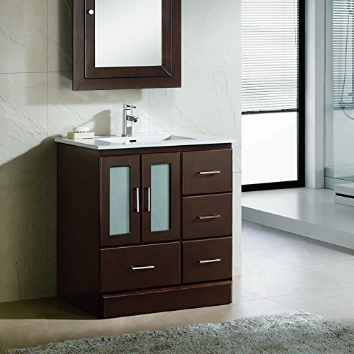30 Bathroom Vanity Cabinet Ceramic Top Integrated Sink Faucet Drain CMS3021