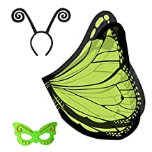 RioRand Kid's Dress-ups Set Butterfly Wings Shawl With Mask and Black Antenna Headband(Green)